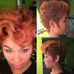 Short red curly hairstyle for black women
