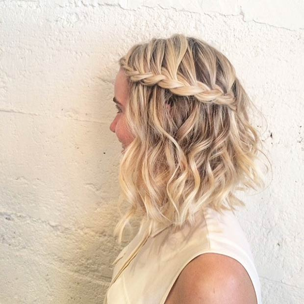 Braided curly a-line bob cut for women