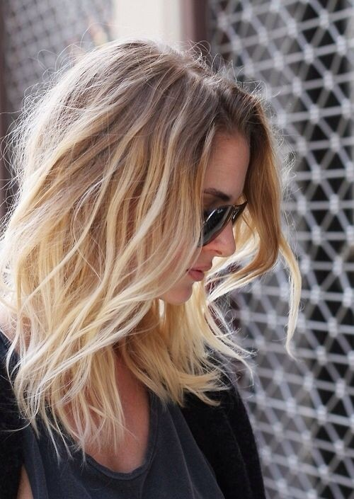 Sexy medium length brunette to blonde ombre bob cut for spring /fall