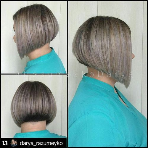 Short straight invert bob hairstyle