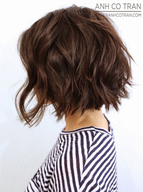 Side View of short wavy bob hairstyle