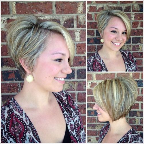 layered short asymmetrical bob haircut for women