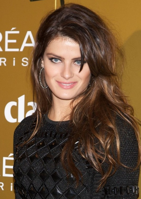 Celebrity layered long brunette hairstyle for women