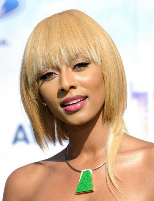 Keri Hilson Tapered Blonde Bob Hairstyle for Black Women