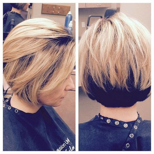 Melting highlight stacked bob hairstyle for women