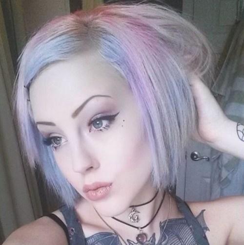 Pastel purple haircut for short hair