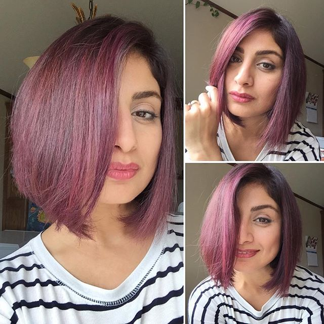 Purple Stacked Bob Hairstyles with bangs