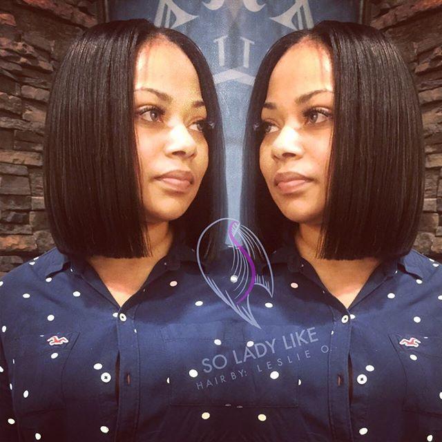 Short straight blunt bob haircut for black women