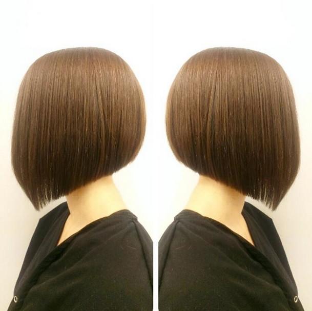 Side view of cute short angled bob haircut