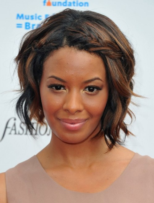Vanessa Simmons Short Bob Haircut with braid for black women