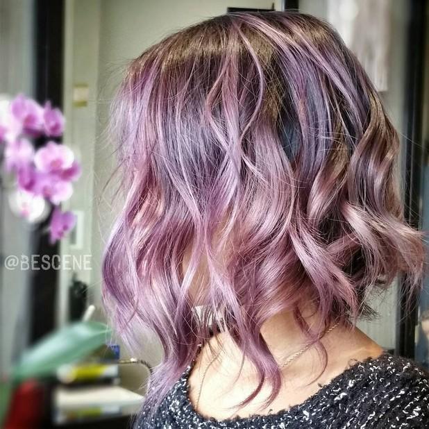colored wavy bob hairstyle - pastel purple bob haircut with shades