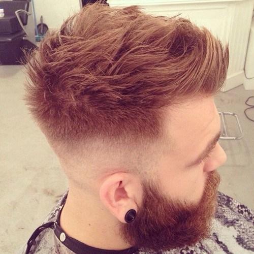 cool copper short faux hawk hairstyle for men