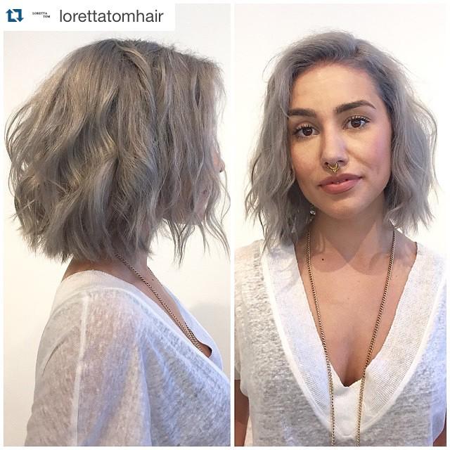 layered messy gray bob haircut