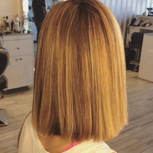 long blunt bob hairstyle for medium length hair