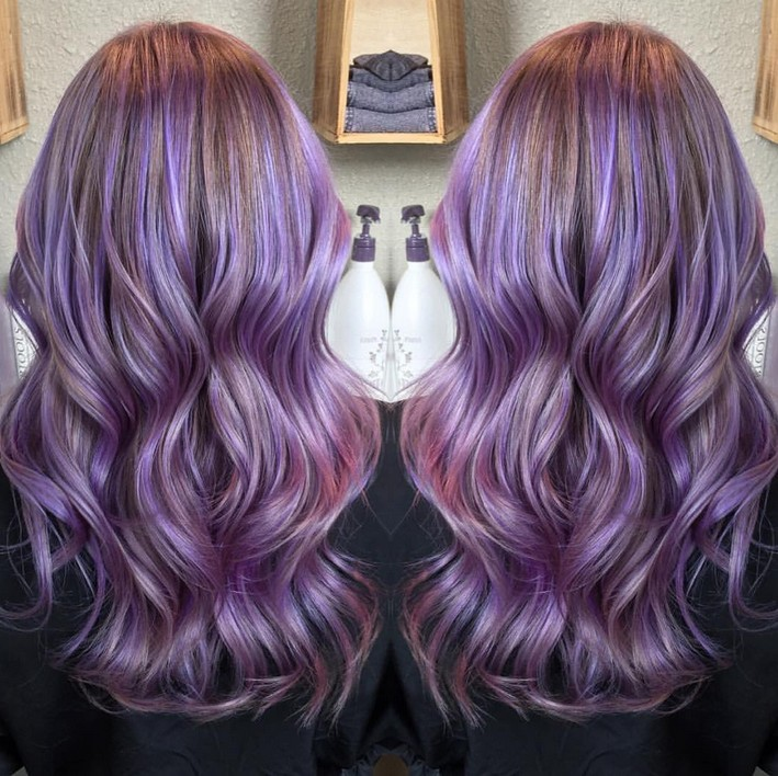 long wavy pastel purple hairstyle