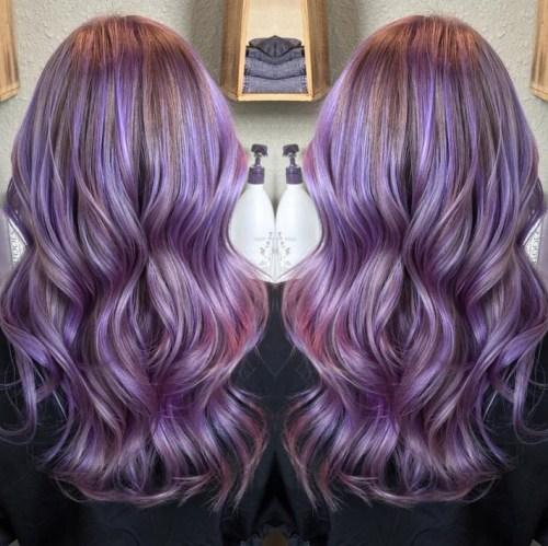 long wavy pastel purple hairstyle