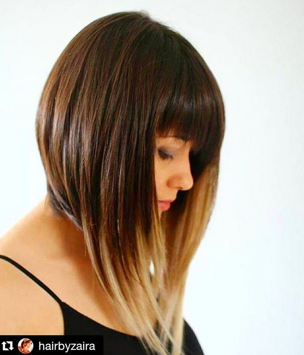 medium angled ombre bob hairstyle with bangs