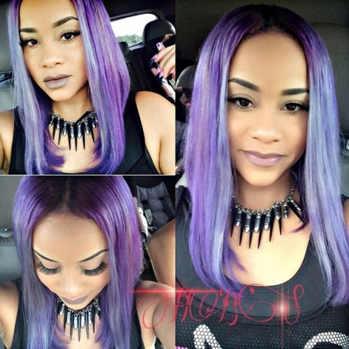 pastel purple long bob hairstyle for black women