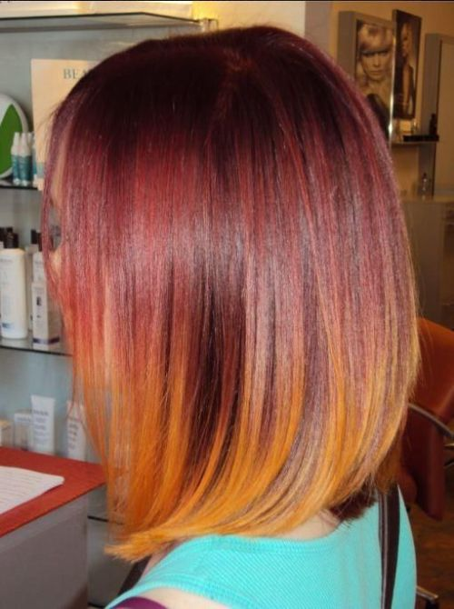 red to orange lob hairstyle for medium straight hair