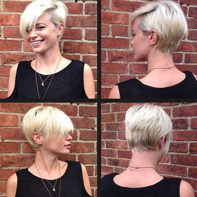 short blonde pixie cut with long bangs