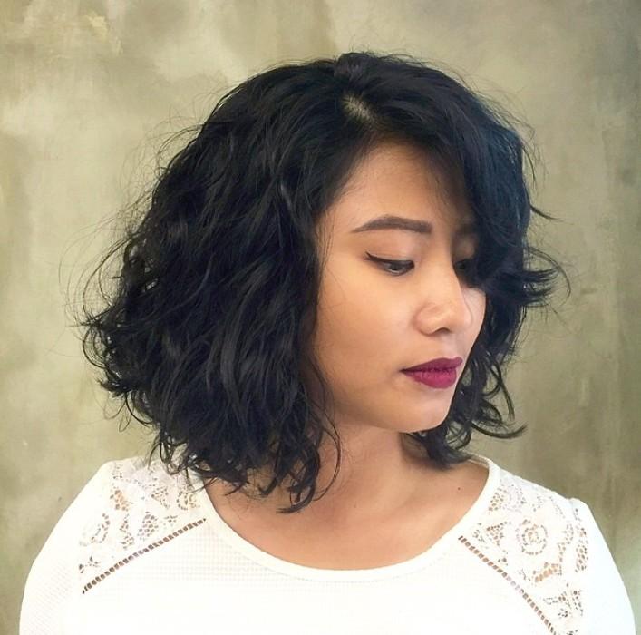 short permed bob hairstyle
