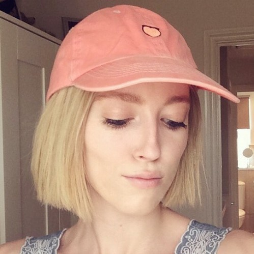 short straight blunt bob cut with hat