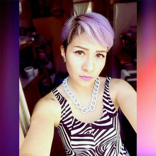 trendy short purple pixie haircut with bangs