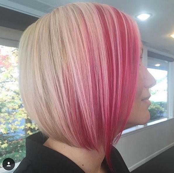 Bob Haircut with Pink Platinum Blonde Hair