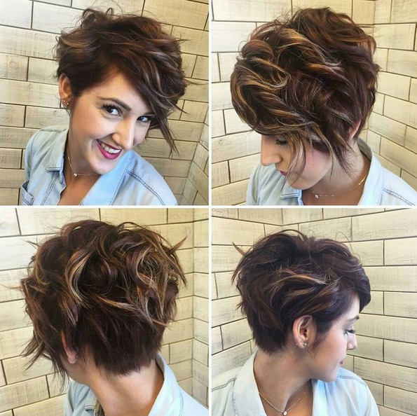 Casual, Messy Curly Short Haircuts with Side Bangs - Summer Hairstyle for Short Hair