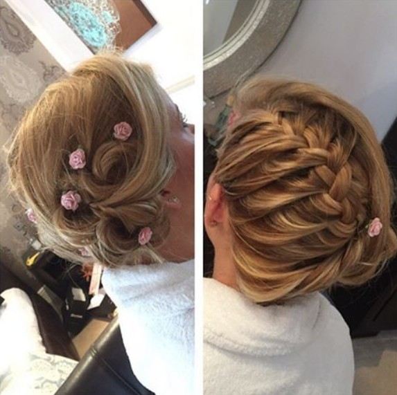 Chic Braid Updo Hairstyle for Meidum Length Hair