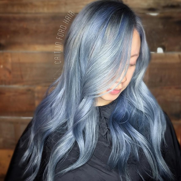 Silver Grey Hairstyle for Long Hair