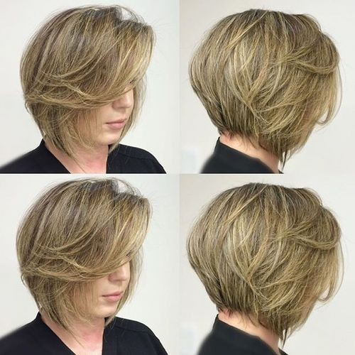 Stacked Bob Cut with Angled Side Bangs - Stylish Short Hairstyles for Girl Thick Hair