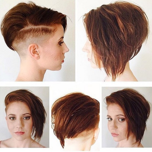 asymmetrical, Shaved Haircut - Straight Short Hairstyle