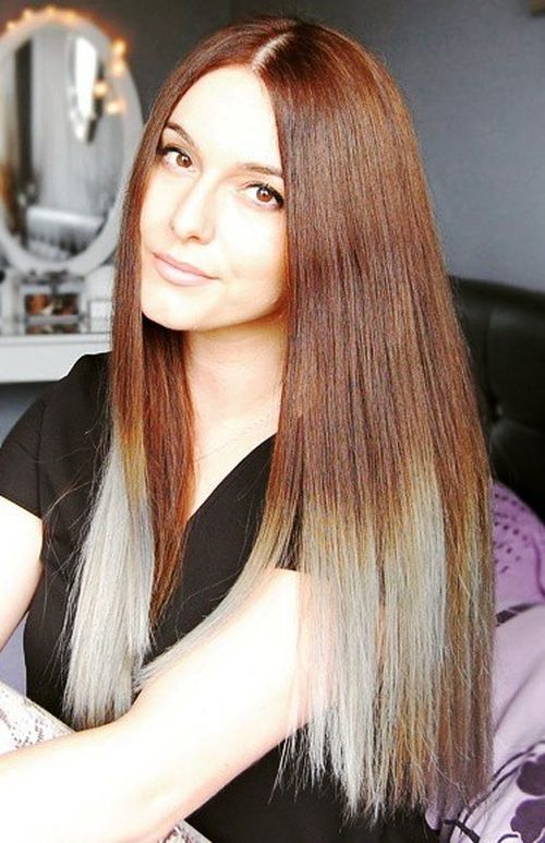 Brown and White Hair