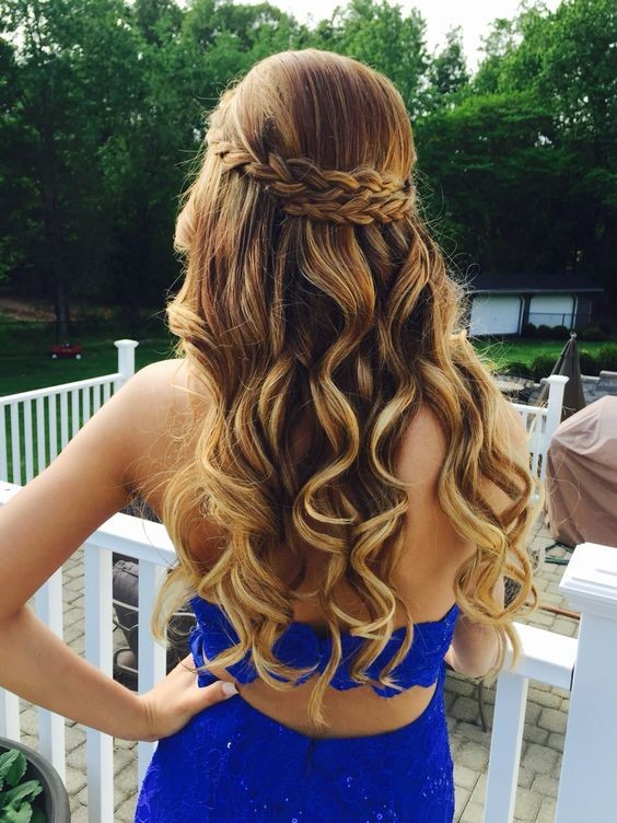 Curly Long Hair Styles with Braids - Beautiful Prom, Homecoming Hairstyles