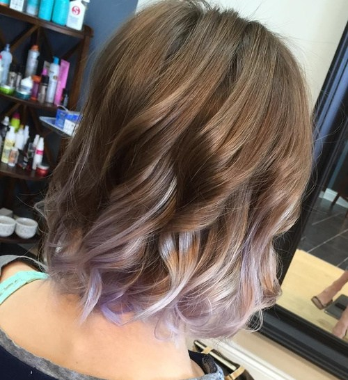 Lavender Curly Bob