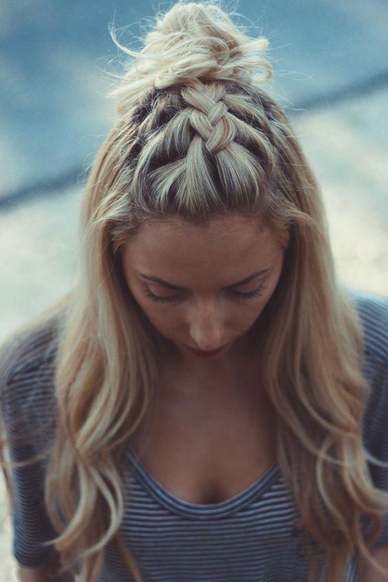 Hair Inspo, Braids, French Braid Top Knot: