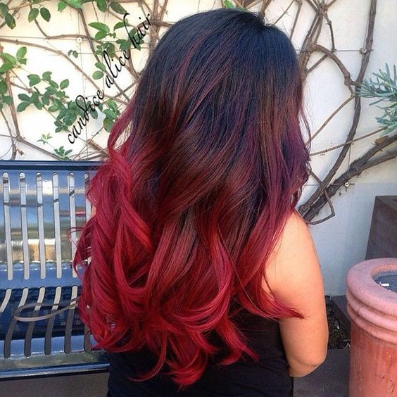 shades of red - red ombre hair styles
