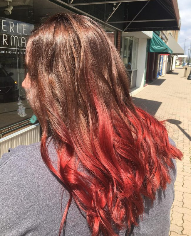 Red Ombre Light Brown Hair