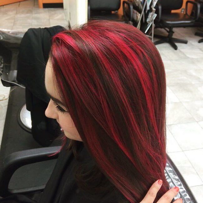 Pics of black hair with red and blonde highlights hairsstyles 70 breathtaking red highlights styles flames in your hair pmusecretfo Gallery