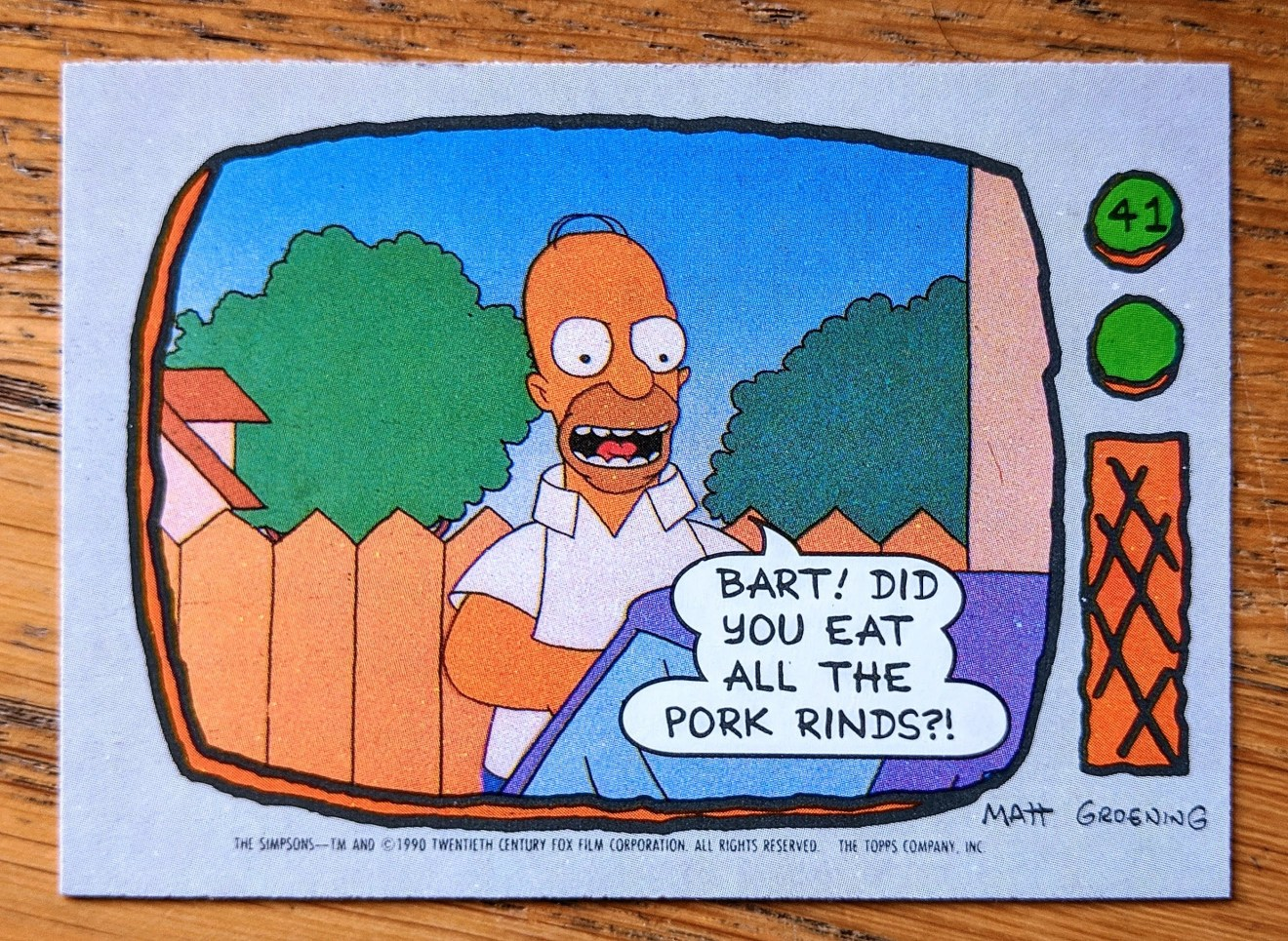 Homer Simpson, Pork Rinds - Topps Trading / Bubblegum Card