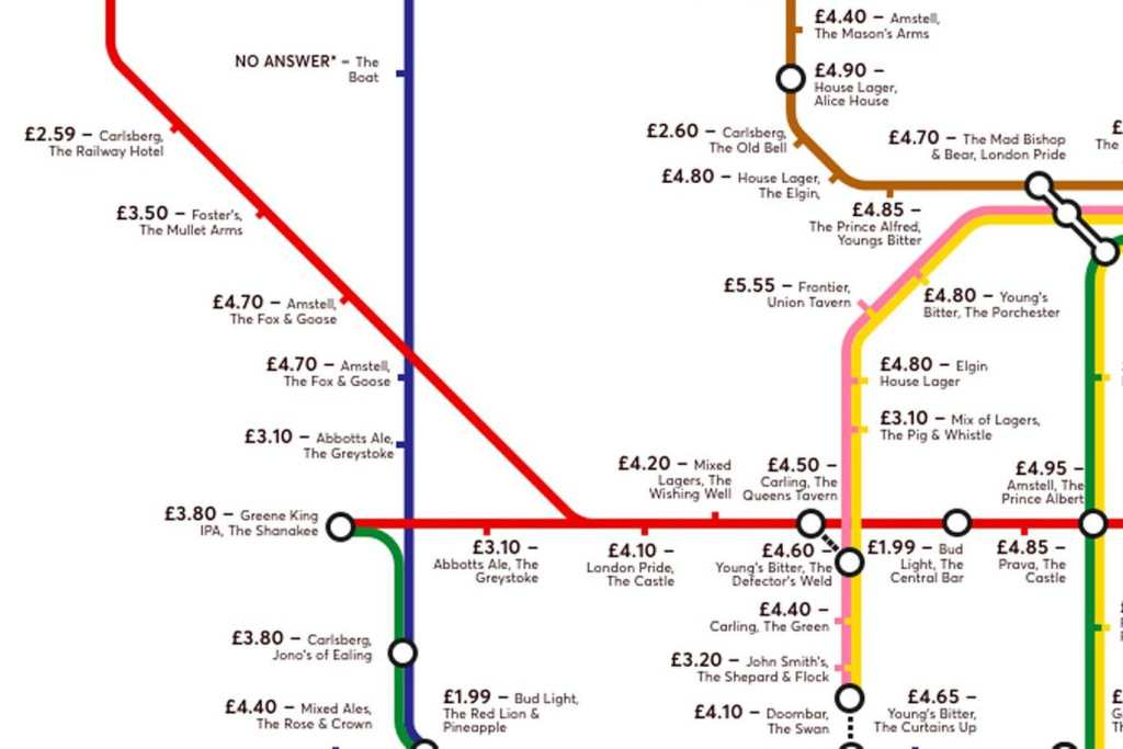 pubmap4 1024x683 - Redesigned Tube map shows cheapest pints of beer close to London stations