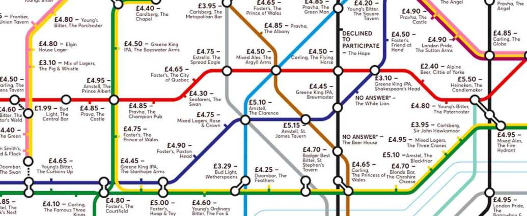 pubmap5 - Redesigned Tube map shows cheapest pints of beer close to London stations