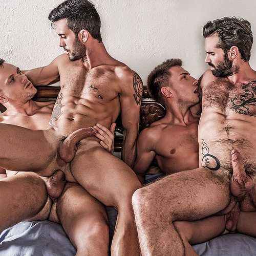 four hung guys have bareback orgy