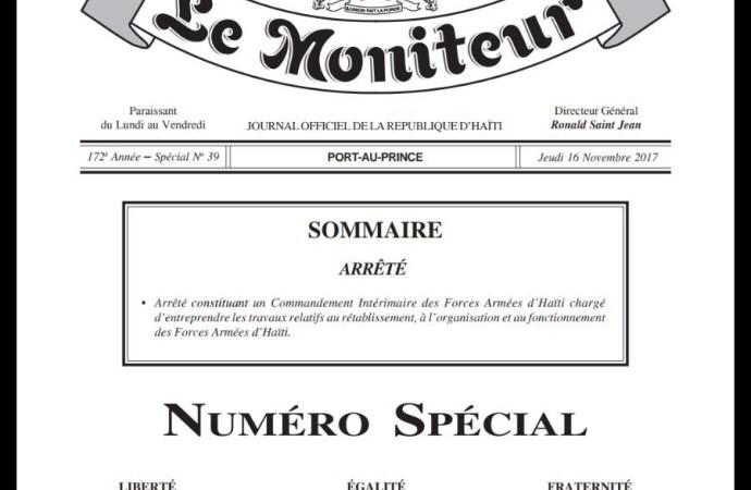Haïti-Sécurité: commandement intérimaire des FAD'H mis en place