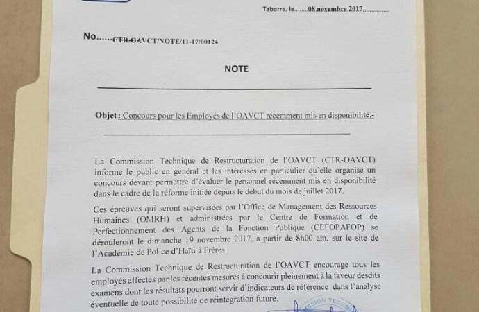 L'Office Assurance Véhicules Contre Tiers (OAVCT), organisera un concours de réintégration