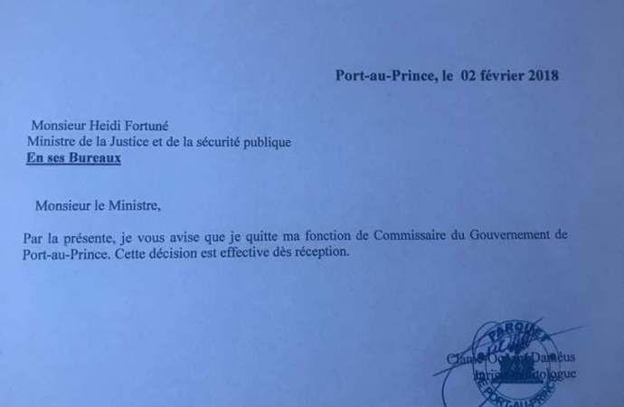 Démission du Commissaire du gouvernement de Port-au-Prince. Me Ocnam Clamé Dameus