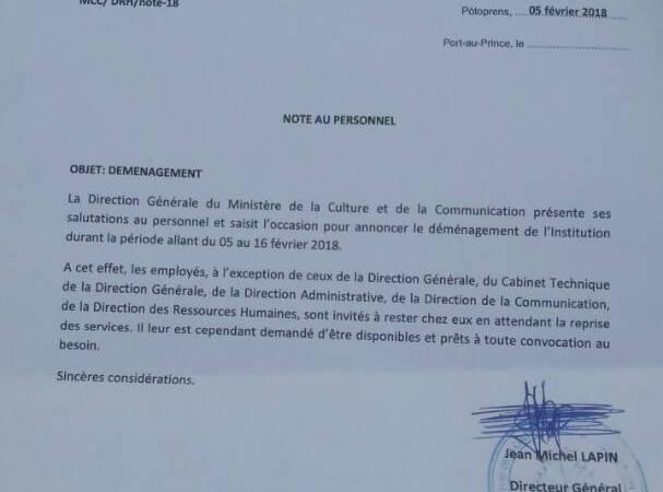 Haïti-Infrastructures: le Ministère de la culture cède son local au ministère de la Défense