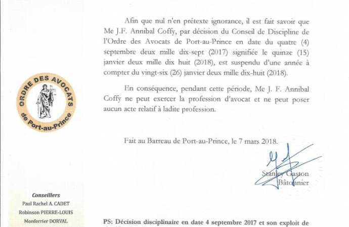 Haïti-Justice: Annibal Coffy suspendu pour une année