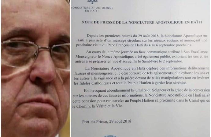 »Le pape François ne visitera pas Haïti», dément la nonciature apostolique